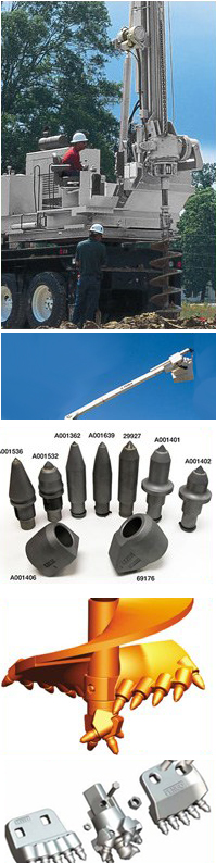 Terex Telelect Parts including auger heads, and teeth for Terex digger derricks